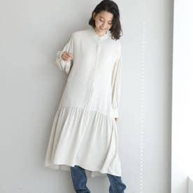 WEB限定 裾切り替えシャツワンピース (オフホワイト)