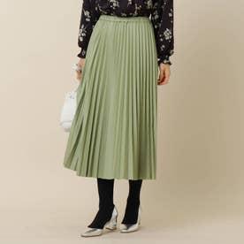 フェイクレザープリーツスカート (ライトグリーン)