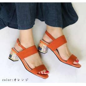 glitter 変わりヒールサンダル (オレンジ)