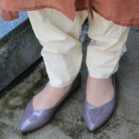 glitter 日本製 晴雨兼用Vカットパンプス (グレー)