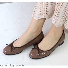 glitter 日本製 晴雨兼用防水スクエアトウパンプス (チャコール)
