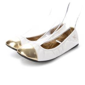 レディース 靴 シューズ バレエシューズ (White/Gold)