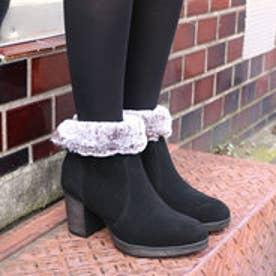 ベティアンドリリィ glitter フェイクファー付 本革ショートブーツ (ブラック)