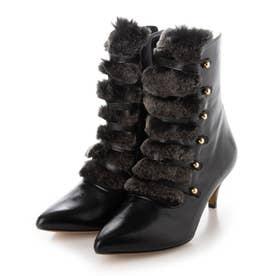 ファーMIXミドルブーツ (BLACK)