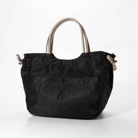 ナイロンA4トートバッグ「アレッサ」 (ブラック*ゴールド)