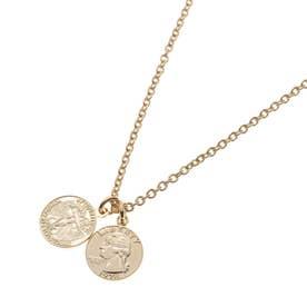 ダブルコインモチーフトップ チェーンネックレス (ゴールド)