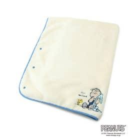 ベース コントロール PEANUTS/ピーナッツ ライナス刺繍 ブランケット ボタンケープ (アイボリー)