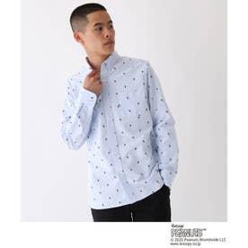 ピーナッツ PEANUTS別注 総柄プリント ボタンダウンシャツ (ライトブルー)