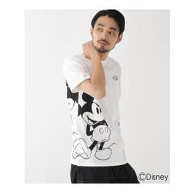 DISNEY ディズニー 「ミッキーマウス」/サイドプリント 半袖 Tシャツ (アイボリー(004))