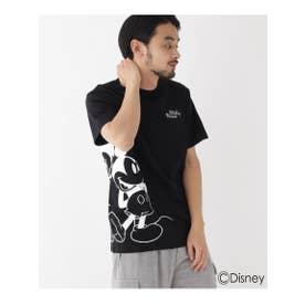 DISNEY ディズニー 「ミッキーマウス」/サイドプリント 半袖 Tシャツ (ブラック(019))