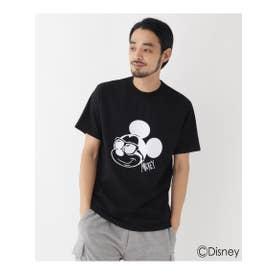 DISNEY ディズニー「ミッキーマウス」/サングラス 半袖 Tシャツ (ブラック(019))