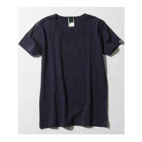 30コーマ UネックTシャツ(袖ピス) (ダークネイビー(094))