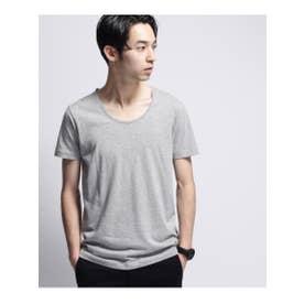 30コーマ UネックTシャツ(袖ピス) (グレー(912))