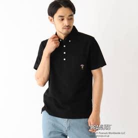 ベース コントロール PEANUTS/ピーナッツ ウッドストック刺繍 カノコボタンダウンポロシャツ (ブラック)