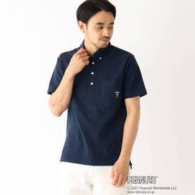 PEANUTS/ピーナッツ ウッドストック刺繍 カノコボタンダウンポロシャツ (ネイビー)