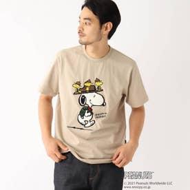 PEANUTS/ピーナッツ アウトドアグラフィックバリエーション 半袖Tシャツ (ベージュ)