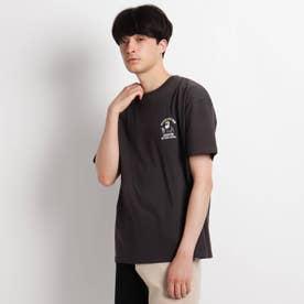 Quash 髭グラフィック ワンポイントサガラ刺繍半袖Tシャツ (ブラック)