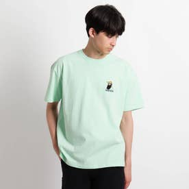 Quash 髭グラフィック ワンポイントサガラ刺繍半袖Tシャツ (ライトグリーン)