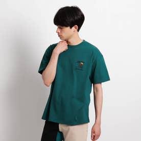 Quash 髭グラフィック ワンポイントサガラ刺繍半袖Tシャツ (ダークグリーン)