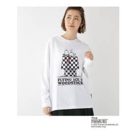 ピーナッツ PEANUTS 別注 スヌーピー チェッカー 長袖 Tシャツ (アイボリー(004))