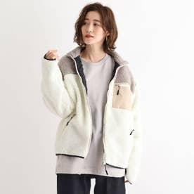 SK ボア スタンドジャケット ブルゾン (ベージュ×ホワイト)