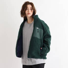 SK ボア スタンドジャケット ブルゾン (ダークグリーン)