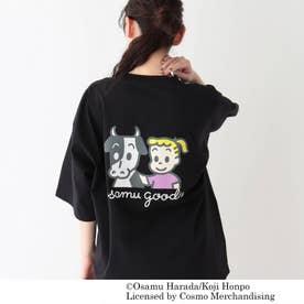 OSAMU GOODS/オサムグッズ コラボ ビッグシルエット プリントTシャツ (ブラック)