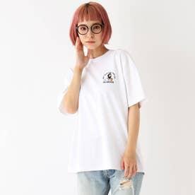 Quash 髭グラフィック ワンポイントサガラ刺繍半袖Tシャツ (アイボリー)