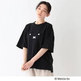 miffy ミッフィー / フロントプリント コットン半袖Tシャツ (ブラック)