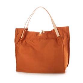 【Bermosa】日本製 ナイロン 本革ハンドルトートバッグ (オレンジ)