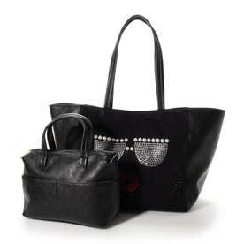 インバッグ付き フェイスデザイン レディーストートバッグ (ブラック)