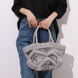 マクラメ編み チャーム付き インバッグ付き トートバッグ (ライトグレー)