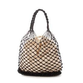 メタリック編みカゴバッグ巾着袋付トートバッグ (ブラック)