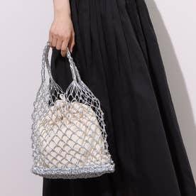 メタリック編みカゴバッグ巾着袋付トートバッグ (シルバー)