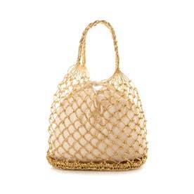メタリック編みカゴバッグ巾着袋付トートバッグ (ゴールド)