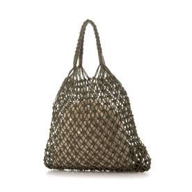 巾着バッグ付き編み トートバッグ (カーキ)