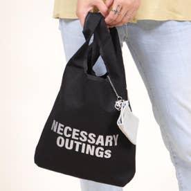 山羊革カードポーチ付 帆布ロゴトートバッグ (ブラック)
