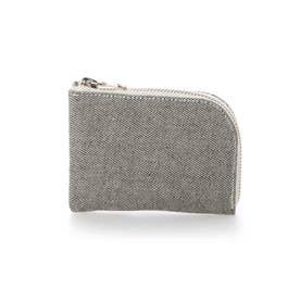 日本製 本革 デニム 財布 カード入れ (アイボリー)