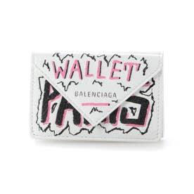 【BALENCIAGA(バレンシアガ)】PAPER MINI WALLET GRAFFITI (ホワイト×ピンク×ブラック)