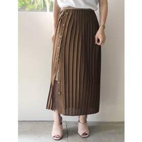 オープンプリーツスカート (BROWN)