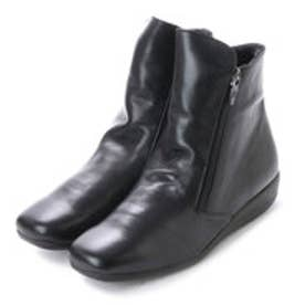 ダブルファスナーショートブーツ (ブラック)