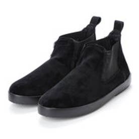 ベロアサイドゴアショートブーツ (ブラック)