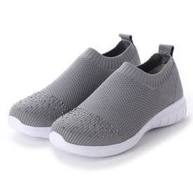 4Eくにゃっとフレキシブルソールニット靴 (グレー)