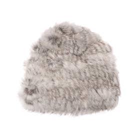 ラビットファー帽子 (グレー)