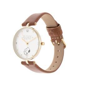 <スヌーピー>デザイン缶付腕時計 (ブラウン)