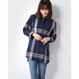 UVカット綿100%素材ロング丈シャツ (ネイビー系チェック)