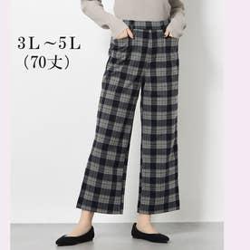ソフトタッチ上品美セミワイドパンツ70丈 (ネイビーチェック)
