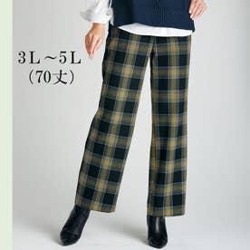 ソフトタッチ上品美セミワイドパンツ70丈 (イエローケイチェック)