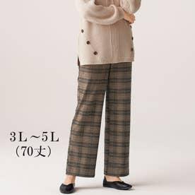 ソフトタッチ上品美セミワイドパンツ70丈 (ブラウンチェック)