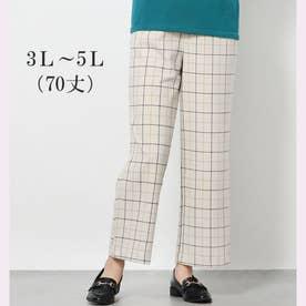 ソフトタッチ上品美セミワイドパンツ70丈 (ウインドペンチェック)